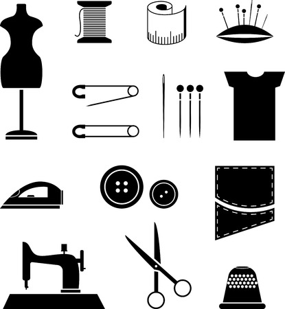 sewing button: Set of black sewing icons