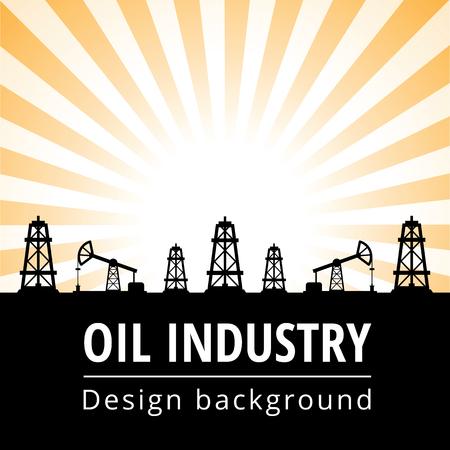 derrick: Black oil derrick on rays background Illustration