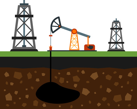oilfield: Flat image of oil rigs and oilfield