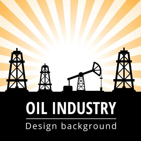 oilwell: Black oil derrick on rays background Illustration