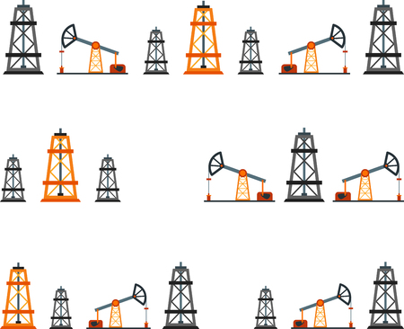 oilwell: Set of flat design element of oil industry