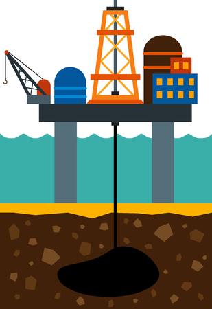 oil exploration: flat image of sea drilling rig and oilfield