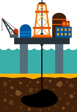 barril de petróleo: imagen plana de la plataforma de perforación mar y del campo petrolífero