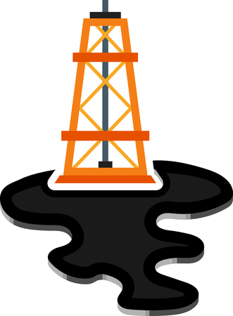 chemical spill: Flat image of derrick and puddle Illustration
