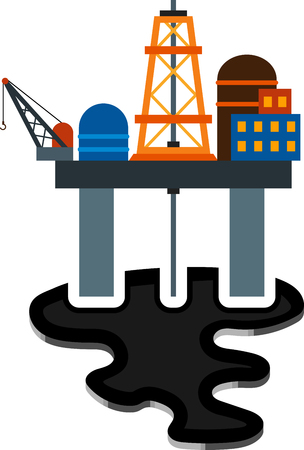 puddle: Flat image of sea derrick and puddle Illustration