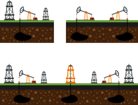 oilfield: Set of flat image of oil rigs and oilfield