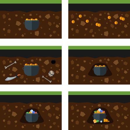 under ground: Set of treasure under the ground