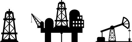 oilwell: Set of black design element of oil industry