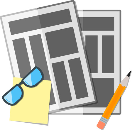 broadsheet: Flat newspapers with pencil and glasses. Illustration
