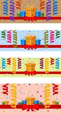festive background: Set of festive background with gift boxes and red ribbon. Illustration