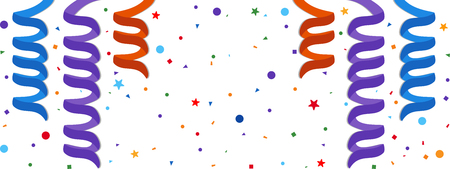 festive: Festive background with serpentine and confetti.