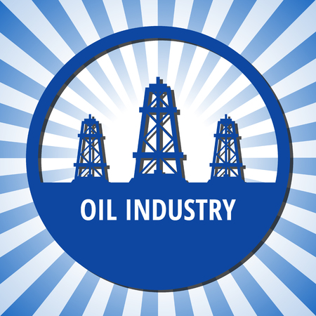 oilwell: Circle emblem of oil industry on a blue rays background.