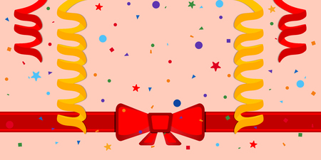 Festive background with serpentine and red ribbon. Eps 10