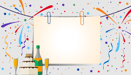 party design: Paper sheet with clips on a festive background. Eps 10 Illustration