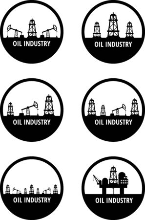 oilwell: Set of black circle emblem of oil industry. Eps 10