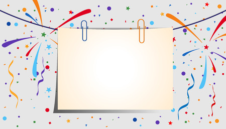 festive background: Paper sheet with clips on a festive background. Eps 10 Illustration