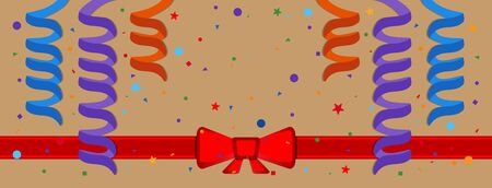 serpentine: Festive background with serpentine and red ribbon. Eps 10