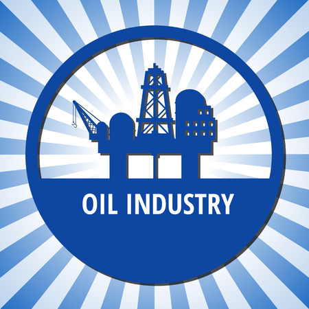 oilwell: Circle emblem of oil industry on a blue rays background. Eps 10