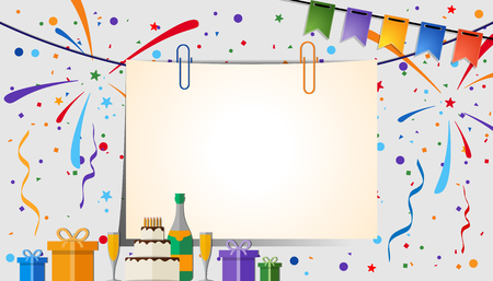 Paper sheet with clips on a festive background. Eps 10 Vettoriali