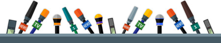 publicist: Set of flat border with microphones and dictaphones.