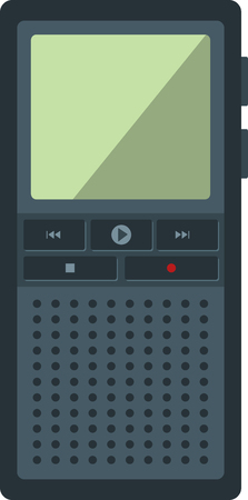 publicist: Flat image of digital dictaphone. Illustration