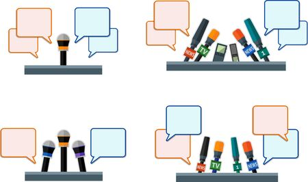 publicist: Set of flat microphones and dictaphones with message bubbles.