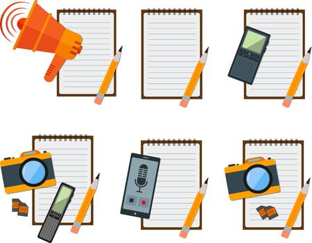 journalistic: Set of flat notepad with journalistic items. Illustration