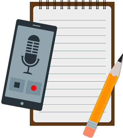 telephone interview: Flat icon of notepad with pencil and smartphone.
