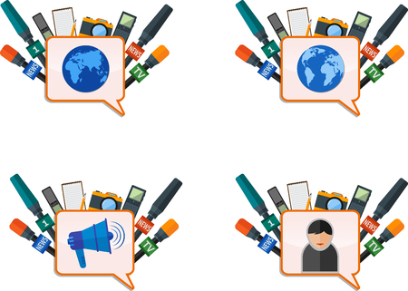 journalism: Set of mass media banner with journalism icons.