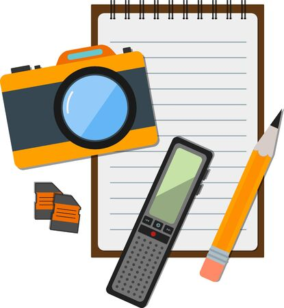 journalistic: Flat icon of notepad with journalistic items. Illustration
