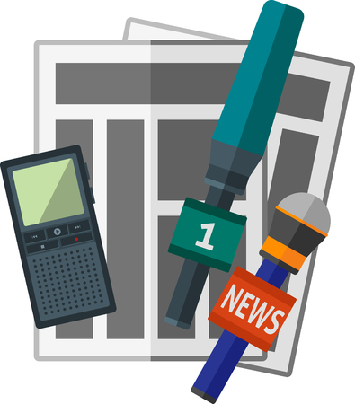 journalistic: Flat news icon with journalistic items.