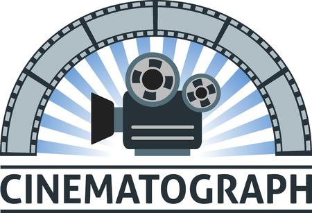 cinematograph: Flat emblem of camera and film.