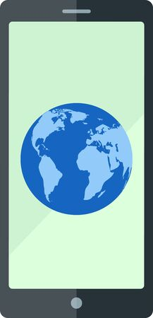 flat earth: Flat smartphone with blue Earth. Illustration