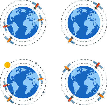 flat earth: Set of flat Earth with satellites.