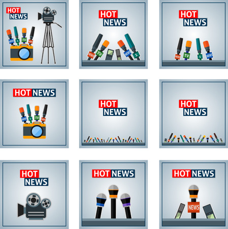news background: Set of news background with cameras and microphones.