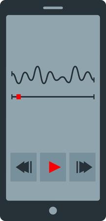 ear phones: Flat image of player phone application Illustration