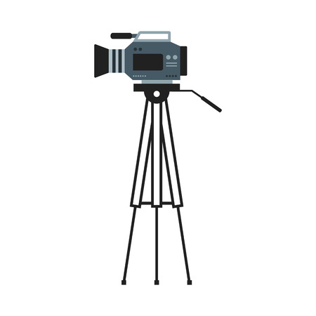 Flat image of video camera on a tripod Stock Illustratie