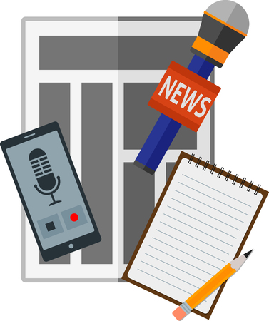 journalistic: Flat news icon with journalistic items. Eps 10