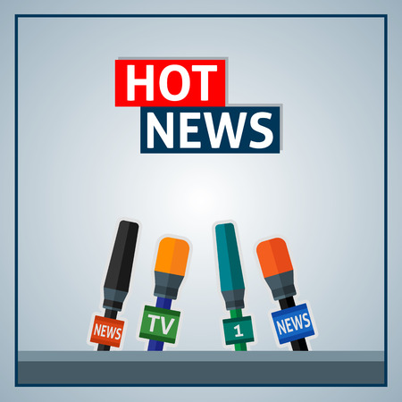 news background: News background with microphones. Illustration