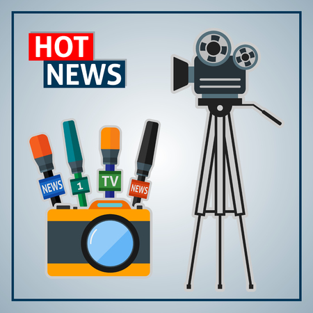 news background: News background with cameras and microphones.