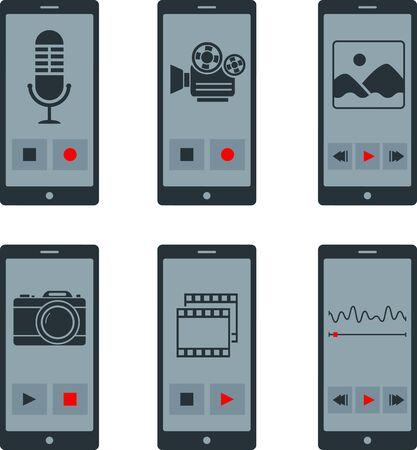 smartphone apps: Set of flat smartphone apps
