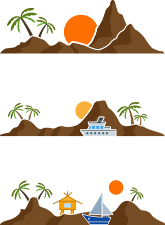 Set of flat graphic island with palm trees