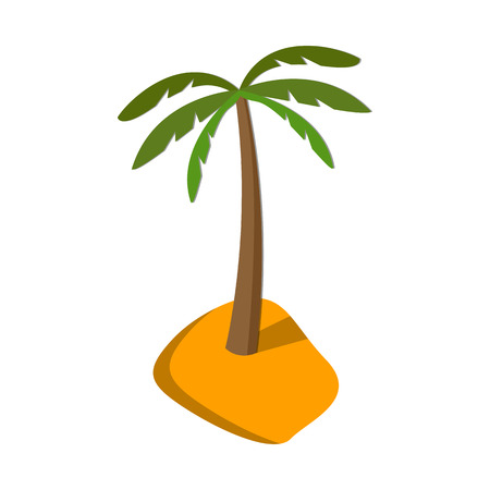 Flat image of palm tree on island.