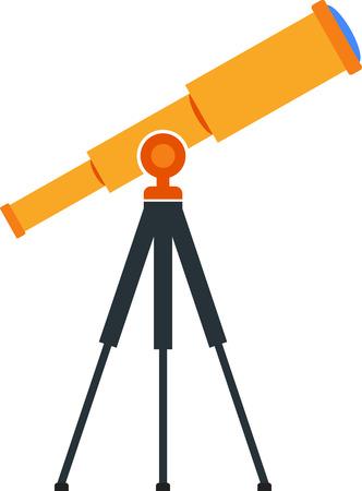 Flat image of telescope on tripod Illustration