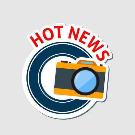 Hot news emblem with camera. Illustration