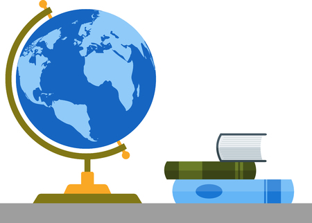 Bookshelf with globe and books.