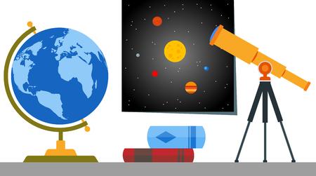 Bücherregal mit globus teleskop und kosmos karte lizenzfrei