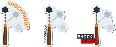 the spikes: Label with symbol of shockproof with morning star medieval weapon. Shockproof  icon. Shockproof set label.