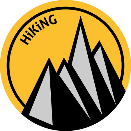 Flat emblem of hiking with sun and mountains. Hiking emblem