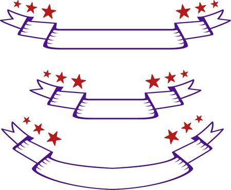 Set of hand-drawn ribbons with stars. Hand-drawn ribbons 일러스트